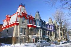 Victoriaanse Huizen in Vierkant Saint Louis, Montreal, Canada Stock Afbeeldingen