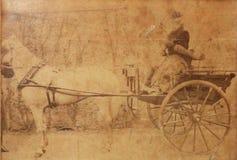 Victoriaanse vrouw op paard en kar recente 1800s royalty-vrije stock foto's