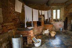 Victoriaanse wasserijruimte met materiaal royalty-vrije stock afbeeldingen