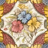 Victorian antique tile. A brightly coloured Victorian period aesthetic design tile Royalty Free Stock Images