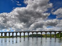 Victorian arched railway bridge on the river Tweed Stock Photos