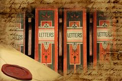 Victorian archival letter boxes. Set of victorian archival letter boxes Royalty Free Stock Image