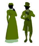 Victorian Art Illustration Silhouette Stock Images