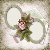 Victorian background with old photo-frame and rose. Family album Stock Photo