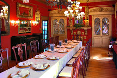 Victorian Banquet. Room in the historic Jonesboro Greenhouse, Jonesboro, Georgia Royalty Free Stock Photos