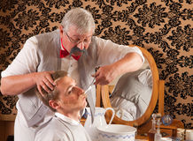 Victorian Barber Cutting Mustache Royalty Free Stock Photos