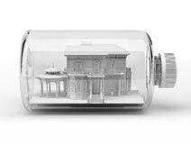 Victorian beautiful house, inside a bottle, on white background. Royalty Free Stock Photography