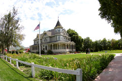 Victorian Beauty. A wide-angle view of a Victorian home on a farm in Southern California Stock Image