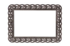 Victorian blank silver frame isolated on white background Royalty Free Stock Images