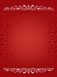 Victorian Border. White victorian border on a red patterned background Stock Photo