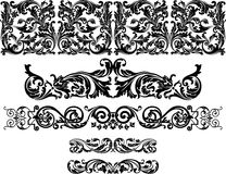Victorian border. Set of the five ornamental border for your design. Vector illustration black on the white background Stock Image