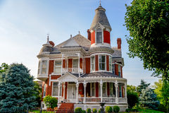 Victorian Brick Bed and Breakfast Home. The Victorianne Bed & Breakfast Inn in historic Lexington, Missouri, Queen Anne archictecture with beautiful landscaping Royalty Free Stock Photos