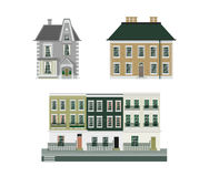 Victorian buildings set of three Stock Image