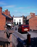 Victorian bus and street, Dudley. Royalty Free Stock Photos