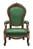 Victorian chair. Artistic illustration of a green victorian chair. Classic style royalty free illustration