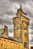 Victorian Clock Tower of Cardiff Castle Stock Photo