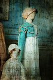 Victorian clothing on mannequins. And musical notes Royalty Free Stock Photography