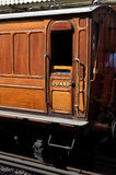 Victorian Coaches. The guard's brake coach, 387 is a restored carriage forming a set of 4 Metropolitan Railway coaches known as the Chesham Set Royalty Free Stock Image