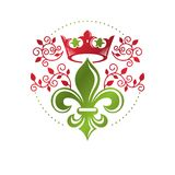Victorian colorful emblem composed using lily flower and monarch. Crown. Royal quality award vector design element, business label Stock Photography
