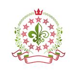 Victorian colorful emblem composed using lily flower and monarch. Crown. Royal quality award vector design element, business label Royalty Free Stock Photos