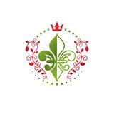 Victorian colorful emblem composed using lily flower and monarch. Crown. Royal quality award vector design element, business label Royalty Free Stock Photo