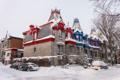 Victorian Colorful houses in Square Saint Louis in winter stock photo