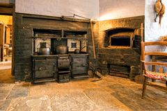 Victorian Cooking Range and Bread Oven, Charlecote House, Warwickshire, England. Stock Image