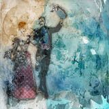 Victorian couple on grunge background Stock Images