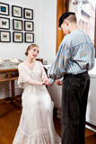 Victorian couple: sailor asks for the hand of girl Royalty Free Stock Image