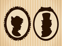 Victorian couple vintage silhouettes royalty free stock photography