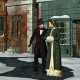Victorian Couple in Winter Stock Photography