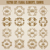 Victorian crown and decorative elements. Royalty Free Stock Photos