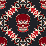 Victorian Damask Pattern tile with skull Stock Photography