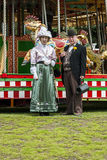 Victorian Doctor and his wife performers standing outside The fa Stock Images