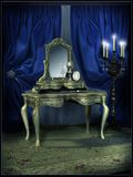 Victorian dressing room. Dressing room with blue curtains stock illustration