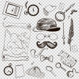 Victorian Era Collection, Gentleman`s vintage accessories doodle set. Hand drawn men illustrations royalty free illustration