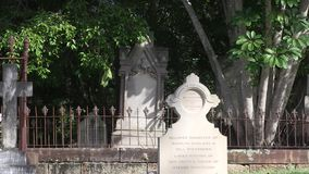 Victorian era grave symbolism, a hand pointing down. This cemetery was the first official cemetery in the city of Brisbane Australia, with the first grave stock video footage