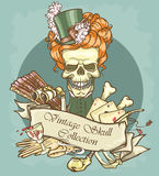 Victorian Era Skull Label Stock Photo