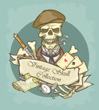 Victorian Era Skull Label Royalty Free Stock Image