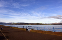 Victorian esplanade. View of the long esplanade by the river Clyde at Greenock, Inverclyde, Scotland, a popular walkway since Victorian times Stock Photography