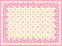 Victorian Eyelet Copy Space Background with Border. Background of Victorian eyelet with a border of double hearts and plenty of copy space in shades of pink & stock illustration