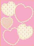 Victorian Eyelet Trimmed Hearts and Copy space Stock Photos