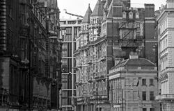 Victorian facades on London street. Buildings in West End of London, UK Royalty Free Stock Image