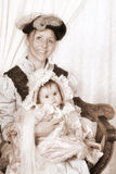 Victorian family portrait with mother and baby Stock Photo