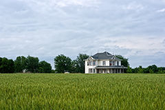 Victorian Farm House and Wheat Field Royalty Free Stock Photos