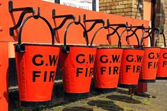 Victorian fire buckets, Hampton Loade. Royalty Free Stock Photos