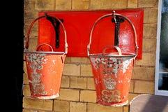 Victorian fire sand buckets. Royalty Free Stock Photos