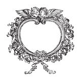 Victorian floral frame with angels illustration. Victorian floral frame or wreath with angels or cherubs - black and white illustration royalty free illustration