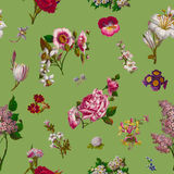 Victorian Flowers Seamless Background Royalty Free Stock Photos