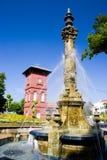 Victorian Fountain And Dutch Clock Tower Stock Photos